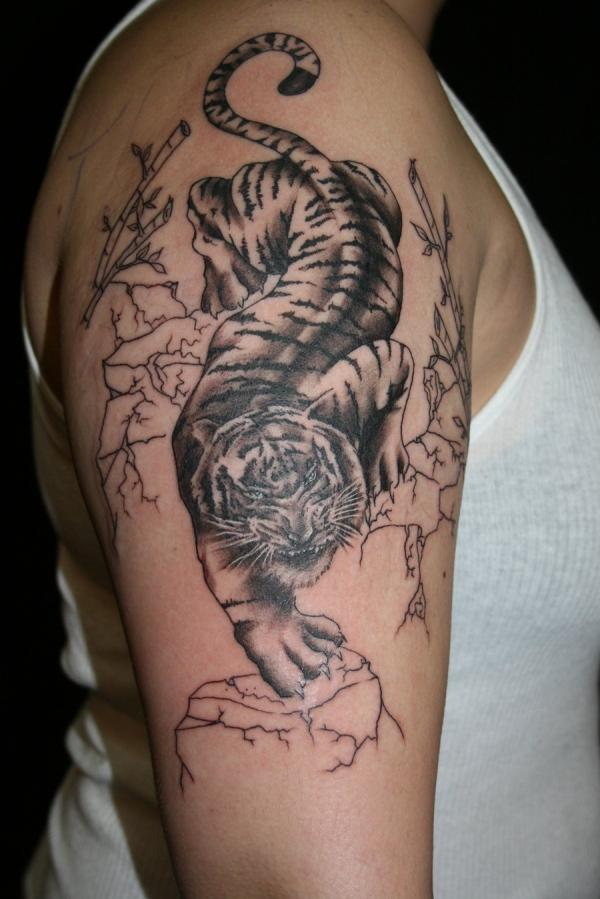 Forest Tiger Shoulder Tattoo