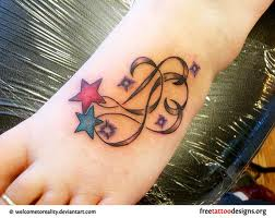 Free Colored Star Tattoos On Foot