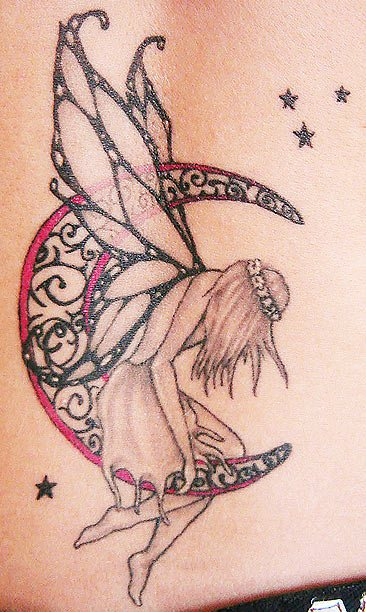 Free Fairy Moon And Stars Tattoos
