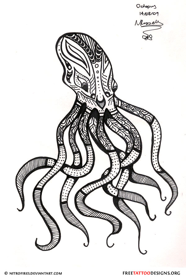 Free Octopus Tribal Tattoo Design