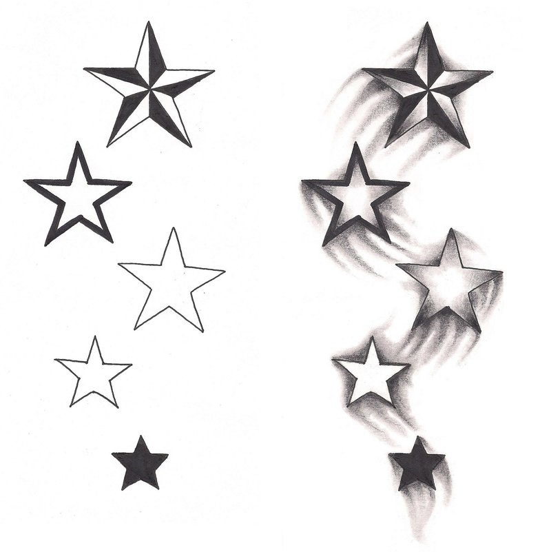 Freebies Shooting Stars Tattoo Design