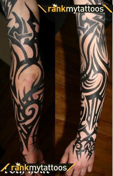 Fresh Black Ink Tribal Sleeve Tattoos