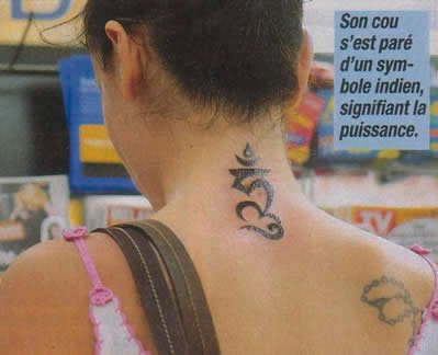 Fresh Holy Symbol Tattoo On Back Neck