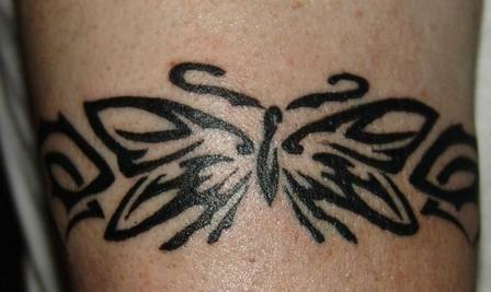 Fresh Ink Tribal Butterfly Muscles Band Tattoo