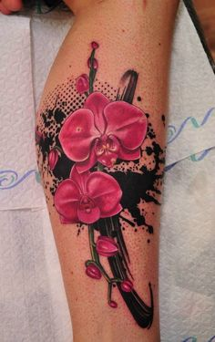 Fresh Pink Orchid Tattoos On Leg