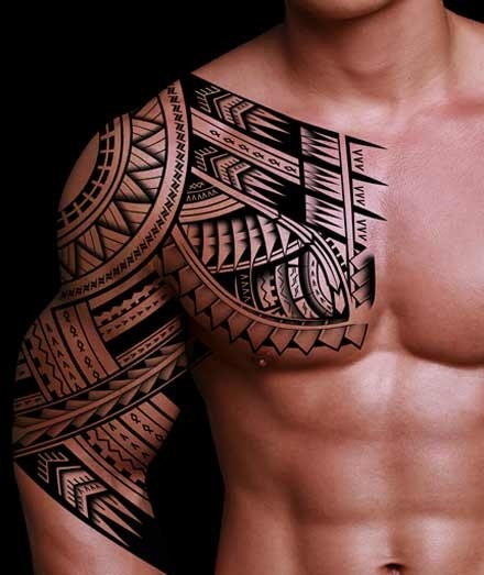 Fresh Polynesian Muscles And Chest Tattoos For Men