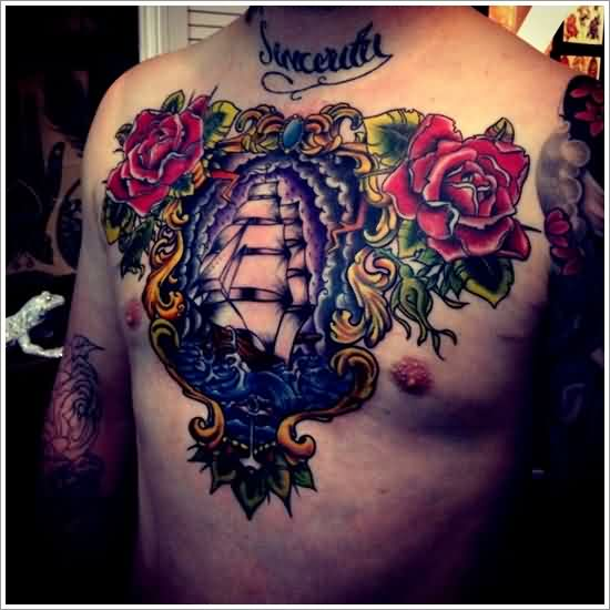 Fresh Red Roses And Ship Chestpiece Tattoos