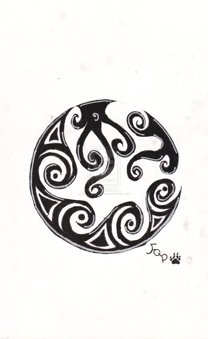 Fresh Tribal Moon Tattoo Model