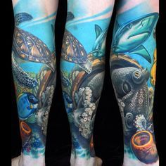 Fresh Underwater Sleeve Tattoos