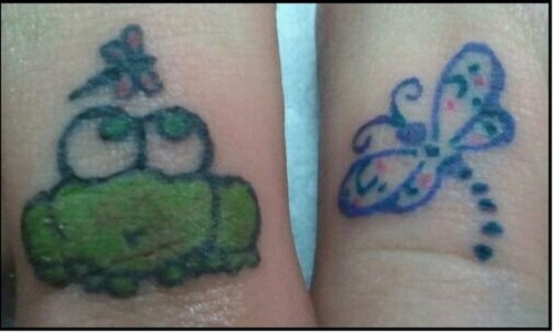Frog And Dragonfly Toe Tattoos