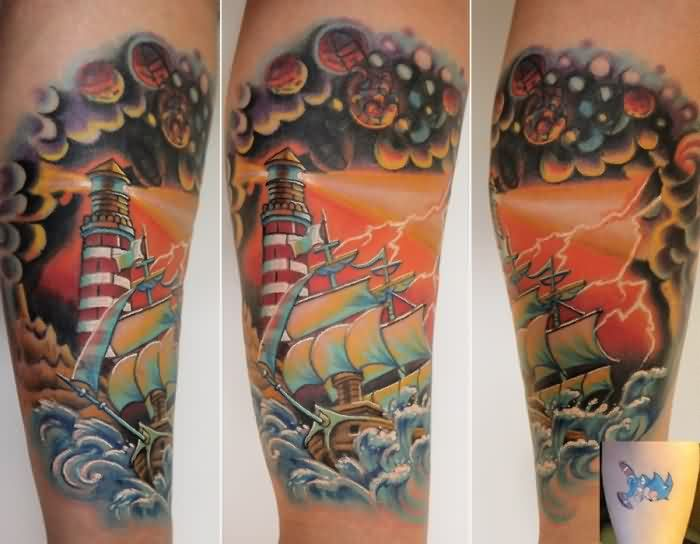 Full Color Lighthouse And Ship Tattoos