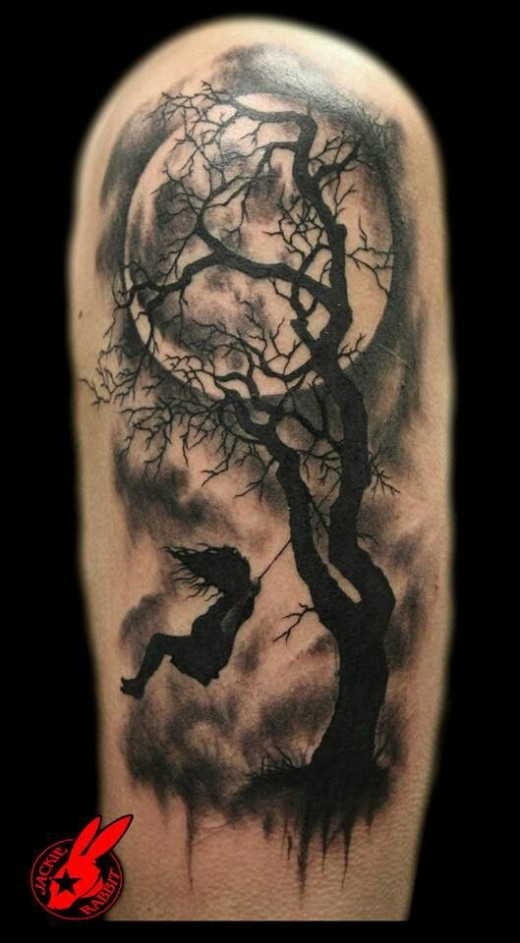 Full Moon And Little Girl Swinging From Walnut Tree Sleeve Tattoos