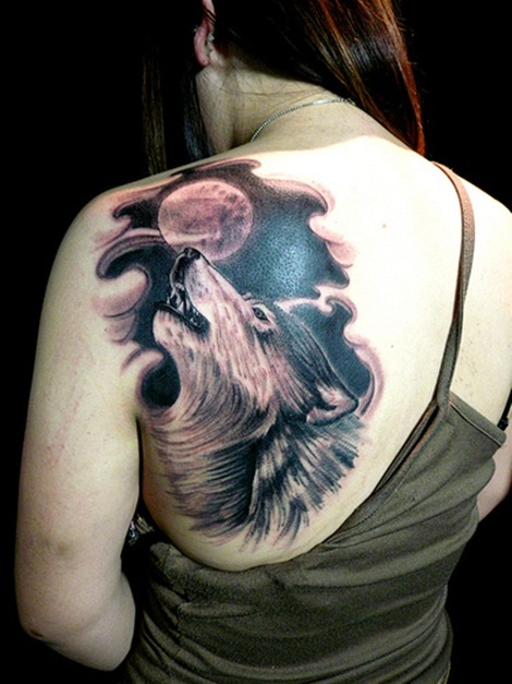 Full Moon And Moon Howl Tattoo On Back Shoulder