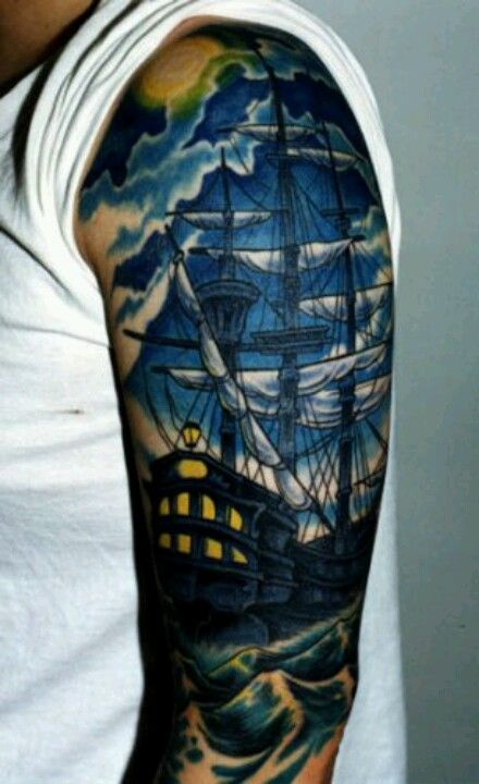 Full Moon And Pirate Ship Sleeve Tattoos