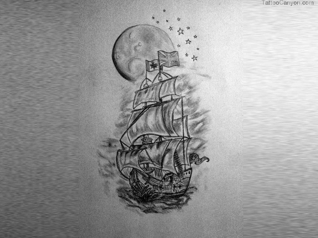 Full Moon And Ship Tattoo Wallpaper