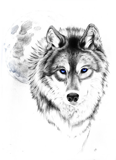 Full Moon And Wolf Tattoo Design