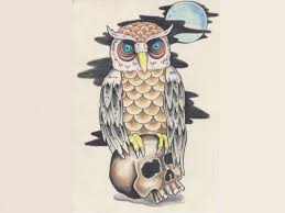 Full Moon Owl On Skull Tattoo Designs