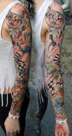 Full Sleeve Alice In Wonderland Tattoos
