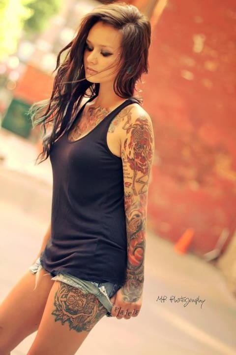 Full Sleeve And Thigh Tattoos For Girls