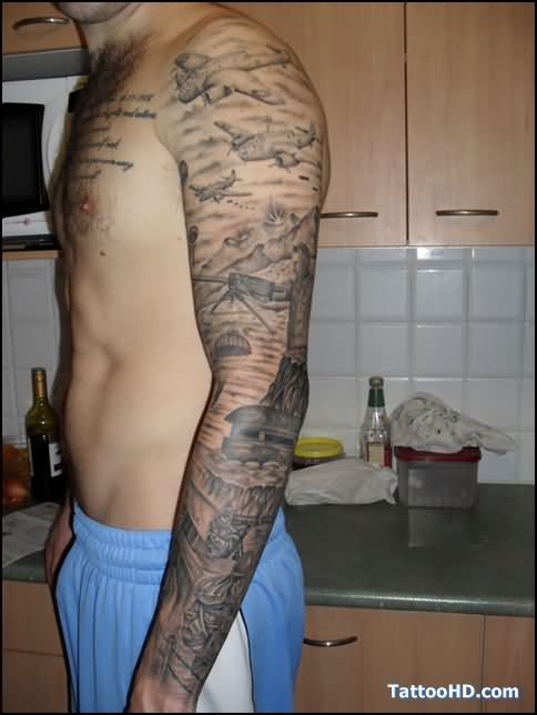 Full Sleeve War Tattoos