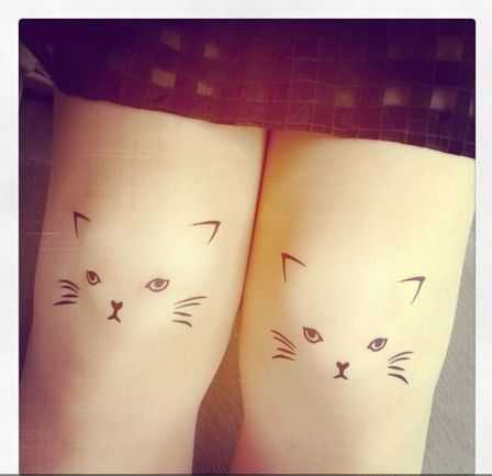 Funny Cats Tattoo On Thighs For Girls