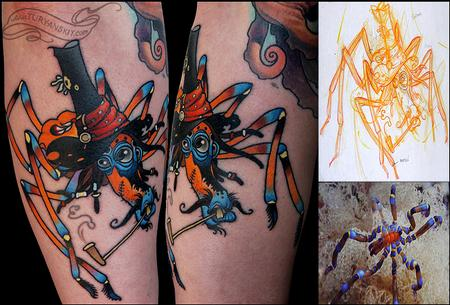 Funny Colorful Spider Tattoos