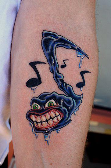Funny Hilarious Music Tattoo On Arm