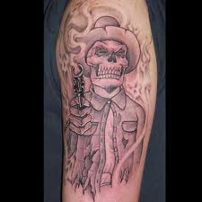 Gangsta Skeleton And Flames Tattoos On Upper Arm