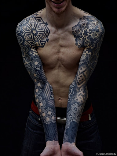 Geometric Tattoos On Both Sleeves