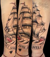Get Home Safely Ship Sleeve Tattoos