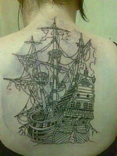 Ghost Ship Upperback Tattoo