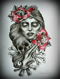 Girl Rose And Skull Tattoo Designs