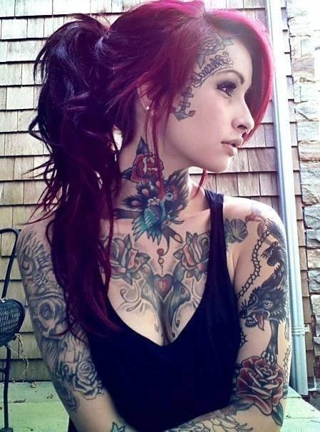 Girl With Red Hairs And Neck Tattoos