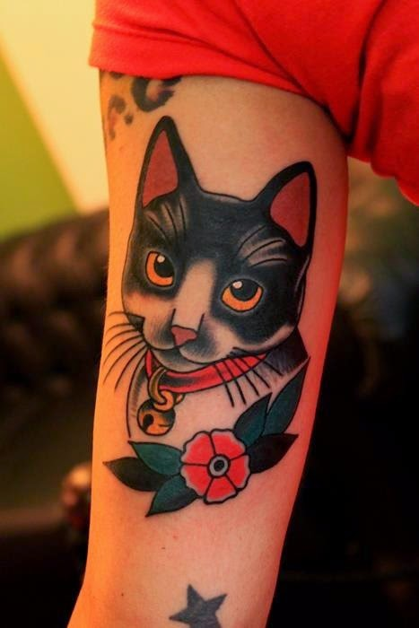 Girly Cat And Flower Muscles Tattoos