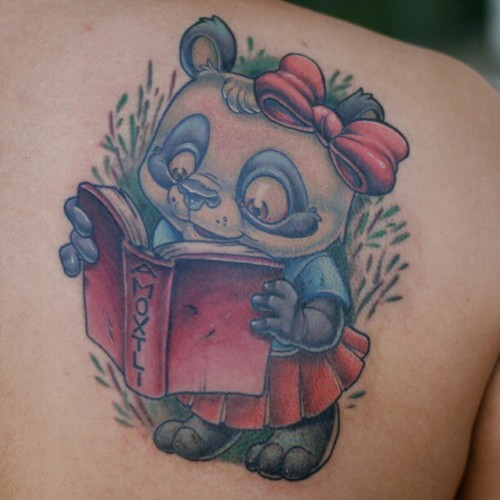 Girly Panda Reading A Book Tattoo