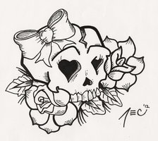 Girly Skull And Bow Tattoo Designs