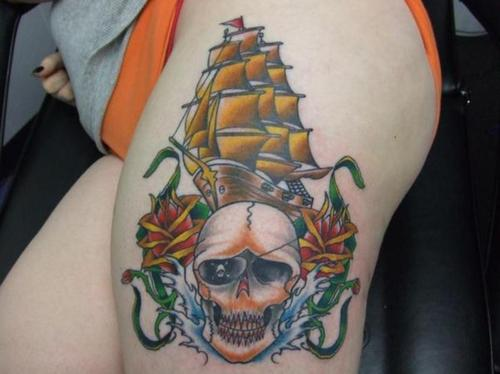 Golden Ship Red Roses And Skull Tattoos