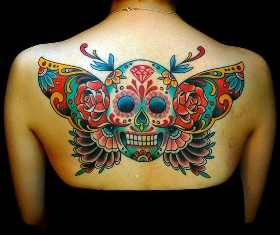 Gorgeous Colored Skull Butterfly Tattoo For Women