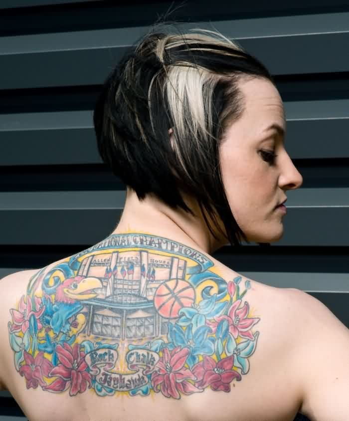 Gorgeous Colored Sports Tattoos On Upperback