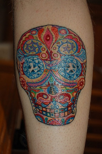 Gorgeous Colored Sugar Skull Tattoo