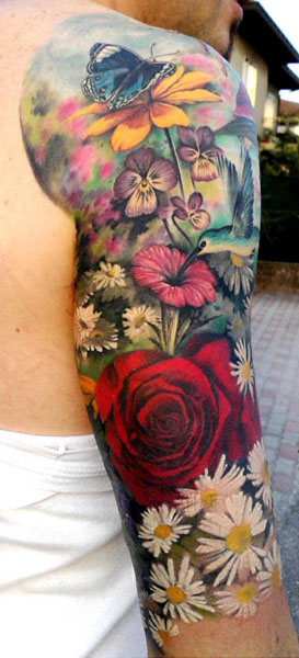 Gorgeous Floral Half Sleeve Tattoo