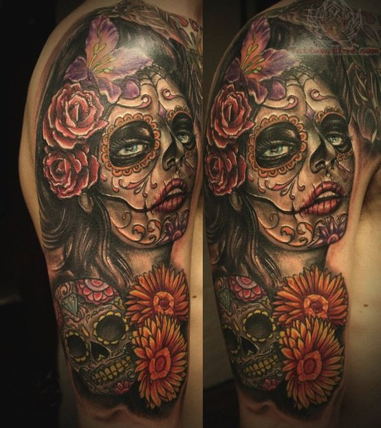 Gorgeous Flowers And Sugar Skull Sleeve Tattoos