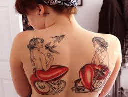 Gorgeous Ocean Mermaids And Bird Tattoos On Back