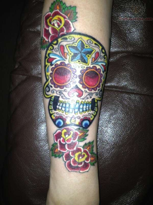 Gorgeous Rose And Sugar Skull Tattoos