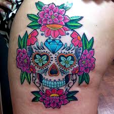 Gorgeous Sugar Skull And Flower Tattoos