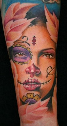 Gorgeous Sugar Skull Girl Tattoo