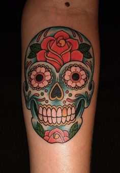 Gorgeous Sugar Skull Tattoo On Arm