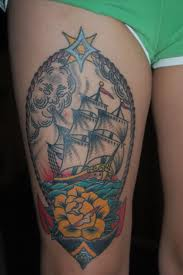 Great Anchor Ship Tattoo On Thigh