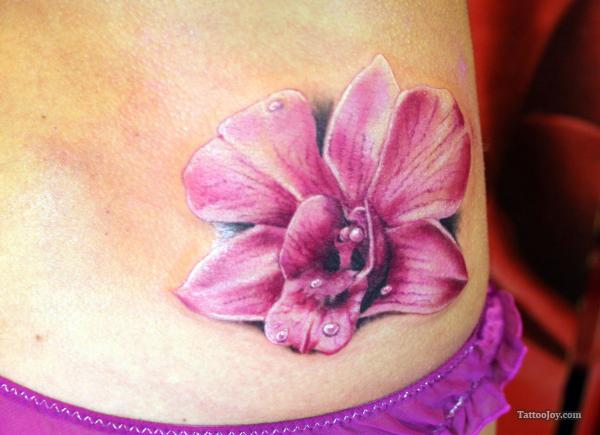 Great Pink Orchid Tattoo On Waist