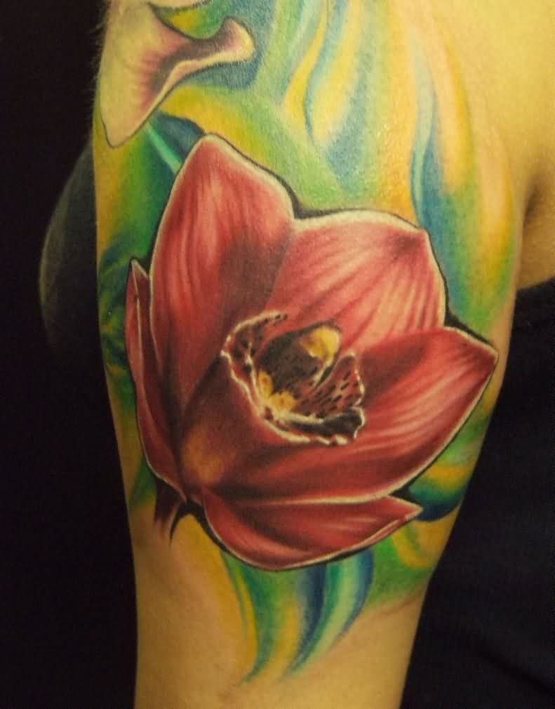 Great Realistic Orchid Tattoo On Biceps